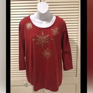 Chico's Long Sleeve Red Snowflake Pattern T-Shirt